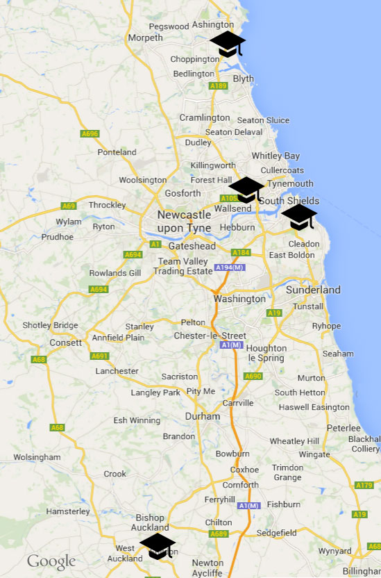 Project colleges on a map