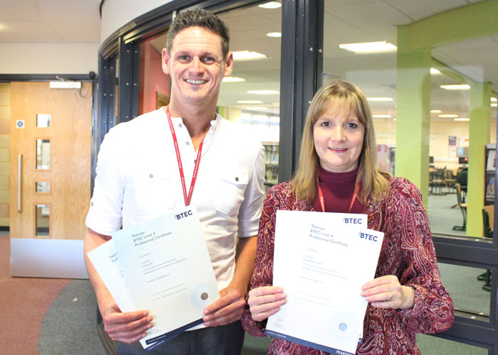 Lee and Elaine with their e-learning BTEC certificates